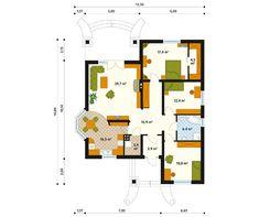 Venus Parterowy dom przeznaczony dla 4-osobowej rodziny. - Jesteśmy AUTOREM - DOMY w Stylu Bungalow House Plans, Better Homes, Wedding Decor, My House, Interior Decorating, 1, Floor Plans, How To Plan, Small Bathrooms