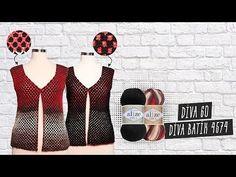 Alize Angora Gold Batik ile Yelek Yapımı -Making Knitting Vest with Alize Angora Gold Batik Knitted Mittens Pattern, Knit Mittens, Moda Emo, Knit In The Round, Knit Vest, Summer Blouses, Crochet Videos, Loom Knitting, Crochet Clothes