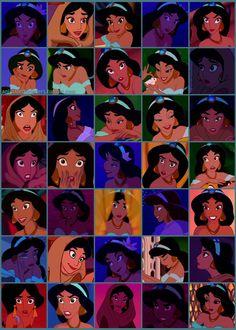 The many faces of Jasmine from Disney Disney Time, Disney Girls, Disney Magic, Disney Art, Disney Movies, Disney Pixar, Disney Villains, Walt Disney, Disney Princess Jasmine