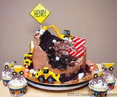 Birthday Cake Decorating, Cookie Decorating, Kids Construction Cake, Construction Birthday, Baking Cupcakes, Cupcake Cakes, Truck Birthday Cakes, 3rd Birthday, Birthday Ideas