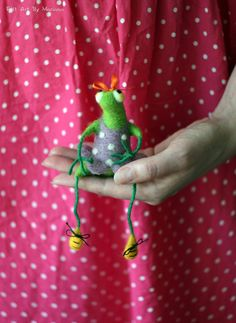 Needle Felt Frog  A Little Green Frog With A Purple Dress