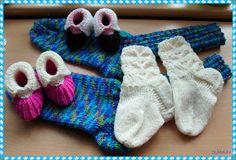 Allerlei               Babysöckchen im Halbpatent in 4fach-Wolle.     Kindersöckchen in 4fach-Wolle.     Herrensocken Größe 42 in 6fach-Wol...
