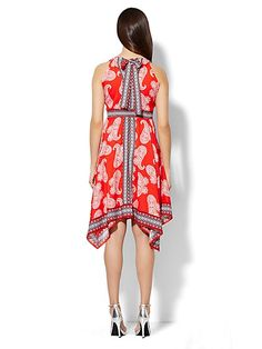 Paisley Scarf-Hem Halter Dress  - New York & Company