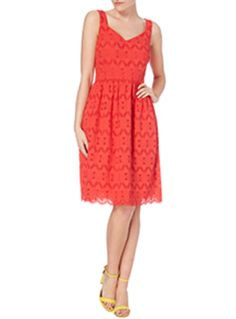 Bring your wardrobe straight into summertime with this gorgeous sun dress. Perfect for afternoon gatherings, this bright red number is sure to turn heads! Red sun dress Zip fastening Lined Midi length Heart neckline Under bust waistband Model's height is 5'11