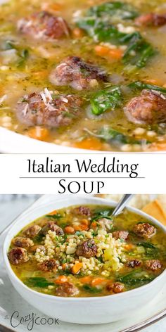 soup recipes This Italian Wedding Soup is Stove Top, Crock Pot, and Instant Pot friendly! An easy soup recipe that makes a great freezer meal! Instant Pot Dinner Recipes, Healthy Soup Recipes, Fall Recipes, Good Soup Recipes, Autumn Recipes Dinner, Crock Pot Soup Recipes, Brothy Soup Recipes, Healthy Fall Soups, Summer Soup Recipes