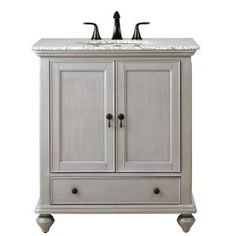 Home Decorators Collection Newport 31 in. W x 21.5 in. D Single Vanity in Pewter with Granite Vanity Top in Grey with White Basin 1975200290 at The Home Depot - Mobile