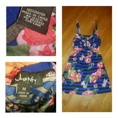 Cute Little Dress by Justify - Sz M Sz Medium little dress in vibrant floral!!! Zips in front ...100% rayon Justify Dresses