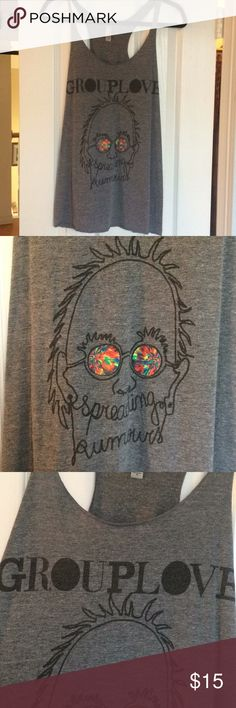 Grouplove Gray Tank Top A size medium gray tank top with a Grouplove graphic on it. Only worn once. Next Level Apparel Tops Tank Tops