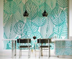 Browse images of Turquoise Modern Dining room designs: Light Sky. Find the best photos for ideas & inspiration to create your perfect home. Source by Browse images of Turquoise Mod… Dining Room Walls, Dining Room Design, Dining Set, Wall Design, House Design, Sky Design, Deco Cool, Decoration Vitrine, Wall Stencil Patterns