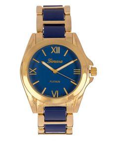 Love this Navy & Gold Band Bracelet Watch on #zulily! #zulilyfinds