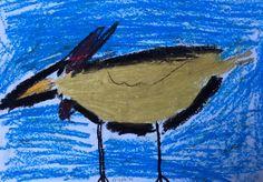 Bird drawing, oil pastel.