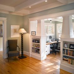 Similar colors - floor walls etc. and half plantation shutters in background :: bungalow interiors decor and design craftsman built-in shelving sunroom home office Bungalow Interiors, House Design, Craftsman Style Homes, House Interior, Home, Craftsman Interior, Bungalow Homes, New Homes, Craftsman Built In