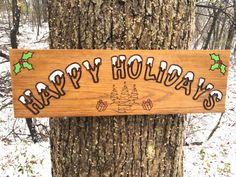 Custom Christmas Wood Sign, Happy Holidays Sign, Christmas Gift Sign, Custom Carved Sign, Housewarming/Christmas Gift, Engraved Wood Sign