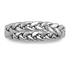 Intricate Handwoven 3.75mm Double Braid 14K White or Yellow Gold Wedding Ring - Free Shipping - $224
