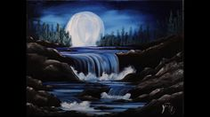 In this video, we're gonna get together and learn how to paint a waterfall at night under the light of the moon. This is a good lesson for beginners on up! A...