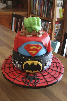 Superheros Cake with Hulk, Superman, Batman, and Spiderman represented