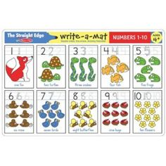 Write-A-Mat Numbers 1-10 Numbers 1 10, Writing Numbers, Math Games For Kids, Drawing Activities, Learn Hebrew, Activity Mat, Learning Numbers, Melissa & Doug, Writing Practice