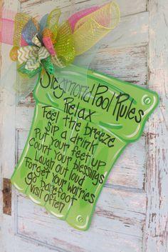 Pool Rules Sign Summer Door Hanger Summer by BluePickleDesigns