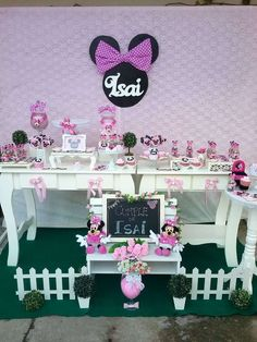 Check out this pink and black Minnie Mouse birthday party! See more party ideas at CatchMyParty.com!