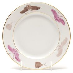 Hand-painted French Limoges Porcelain by Marie Daage. Dessert Plate. Collection: Papillon