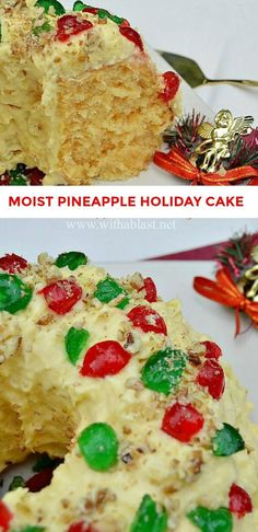 This is one of the Christmas Cakes which you just have to try ! Moist, soft, double Pineapple and an amazing Pudding Cream Pineapple Frosting #Cake #Christmas #Holiday #Baking