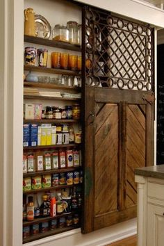 Craftsman Pantry with Cactus, Hardwood floors, Sliding door, Interior Sliding Door, Reclaimed Wood, Built-in bookshelf