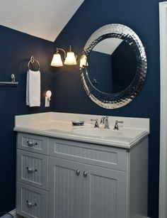 Like this for our downstairs bath. Wonder how that color would look with dark cabinets.
