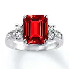 Oh my goodness! ... I want this!!  Emerald Cut Ruby from Kay Jewelers.
