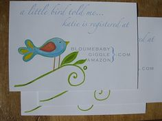 16. Hand painted bird on registry card (this birdie could be cuter!)
