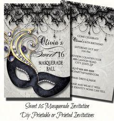 Sweet Sixteen Masquerade Party Invitation   Masquerade Invite