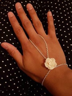 ff275c497d Rose flower slave bracelet, Ring chain hand harness Indian jewellery  accessory, Silver finger connected wrist bracelet, Gift for women her