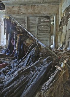 Clothing left in the Hurstmont Estate, Harding Township, New Jersey. The township is now trying to aquire this property so it can be divided and new houses can be built there.