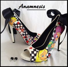 Alice in wonderland hand painted peep toe heels custom mad hatter white rabbit ooak cheshire cat shoes heels pumps custom womens women by Anamnesis7 on Etsy https://www.etsy.com/listing/212691753/alice-in-wonderland-hand-painted-peep