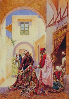 .:. Rudolph Swoboda (Austrian Painter  , 1819-1859) -  The carpet seller