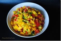 Paleo Mango Salsa Recipe (yummy, I didn't add jalapeño or the lime juice.still so yummy! Paleo Fruit, Paleo Diet, Paleo Food, Vegetarian Paleo, Clean Eating Hummus, Healthy Cooking, Healthy Eating, Healthy Food, Paleo Recipes