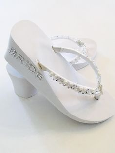8e4bcf864 White Wedding Flip Flops.Bridal Flip Flops.Wedding Shoes. Beach Wedding  Shoes.Bridal Slippers Wedges. Bridesmaid Shoes. Bridal Sandals