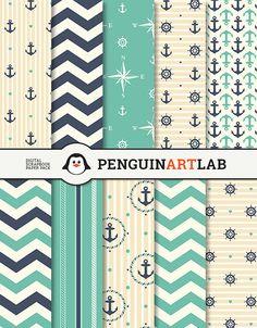 Papel digital paquete de papel Scrapbook náutica por PenguinArtLab