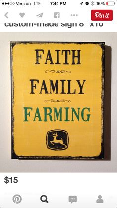 Hand-made canvas painting, 8 x 10 in, John Deere Faith*Family*Farming. Signs are made to order so please allow time for processing. Country Farm, Country Life, John Deere Quotes, John Deere Kitchen, John Deere Room, Farm Signs, John Deere Tractors, Canvas Quotes, Farms Living