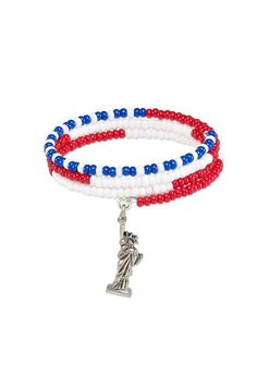 Memory wire is fun and easy to use for quick bracelets. Slide on your favorite beads or charms to suit various tastes and holidays such as this patriotic example perfect for Independence Day.