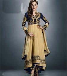 Buy Cream georgette embroidered semi stitched salwar with dupatta party-wear-salwar-kameez online