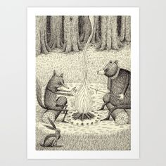 'Camp Fire' Art Print by Alex G Griffiths | Society6