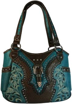 Montana West Concealed Carry Purse Western Style Handbag w Buckle Black: Clothing