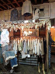 Salvage Sisters, Burlington, NC, vintage, upcycled, clothing, junk, display, merchandising