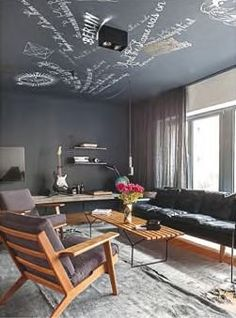 Chalkboard ceiling. In this Berlin apartment, the ceiling is coated in blackboard paint and used as a canvas for drawings and quotes.