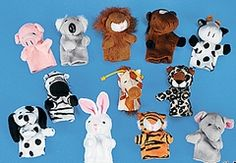 Animal Plush Finger Puppets (6) .   Kids will love creating their own zoo tales with these 7.6cm cute furry jungle and farm animals!