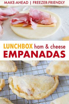Try this freezer-friendly, make-ahead lunchbox idea for kids featuring mini baked empanadas stuffed with ham and cheese! Grab yourself some pie crust, ham and cheese, and get to cooking! Make Ahead Meals, Freezer Meals, Baby Food Recipes, Snack Recipes, School Lunch Recipes, Kid Recipes, Sandwich Recipes, Boite A Lunch, Picky Eaters Kids