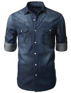 DENIM ESCOCESA 100% Casual camiseta Slim Fit es perfecta, con un look casual, traje de negocios o un deporte de color con estilo a su guardarropa con esta camisa casual que cuenta con: Slim Fit / collar Denim Estilo Punto colas largas Button-up con dobladillo redondeado doble bolsillos en el pecho con el botón Solapa de Cierre de un solo botón Puños CARTA DEL TAMAÑO: Los puntos de medición en pulgadas XS 17 hombro | 19 busto |