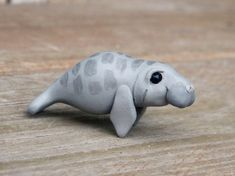 Miniature Polymer Clay Figures | Tiny manatee - Handmade miniature polymer clay animal figure