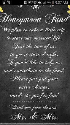 Honeymoon fund