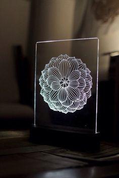 Lotus Mandala Acrylic 3d Led Table Lamp Bedroom Night